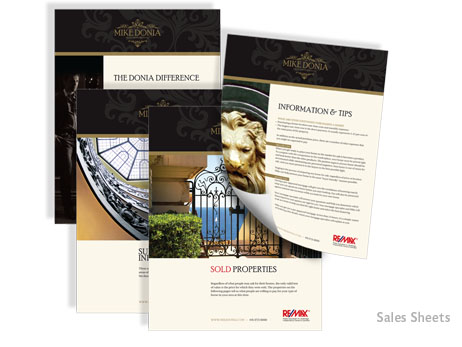 Strengthening his rebranding initiative, these handsome sales sheets are both means of relaying information and embodying the business acumen of Mike Donia. Striking, stylish and sophisticated, they encapsulate the essence of Donia's ideals, while receiving much enthusiasm.